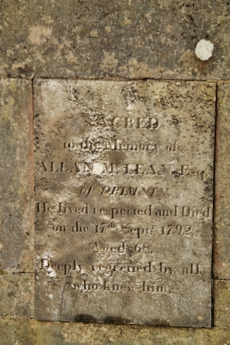 Inscription on Allan McLean's tomb