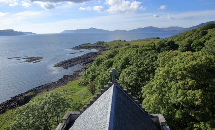 View from the Chapel Tower looking over towards Ardnamurchan